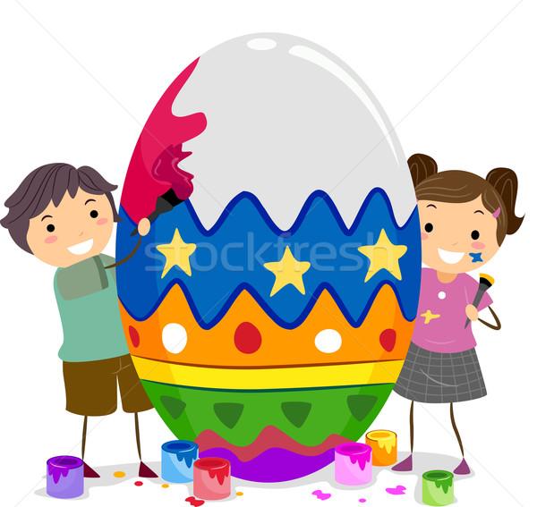 Enfants œuf de Pâques illustration peinture oeuf Photo stock © lenm