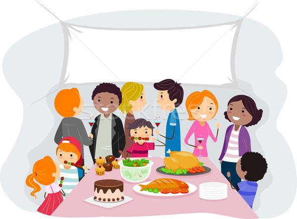 Család gyűlés illusztráció étel gyerekek lányok Stock fotó © lenm