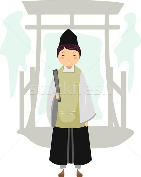 Shinto sacerdote illustrazione uomo japanese maschio Foto d'archivio © lenm