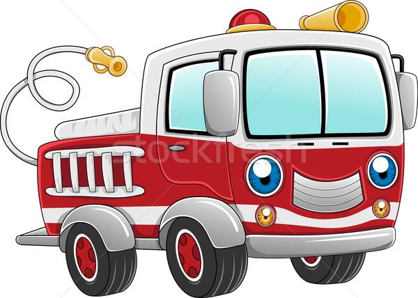 Tűzoltóautó illusztráció kész tevékenység teherautó vektor Stock fotó © lenm