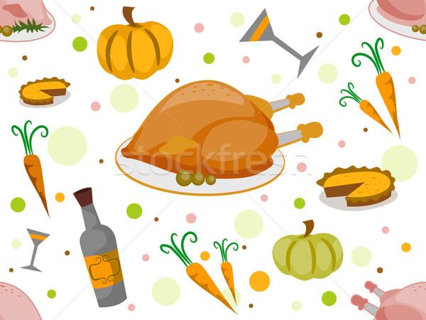 Stockfoto: Dankzegging · illustratie · ontwerp · achtergrond · patroon