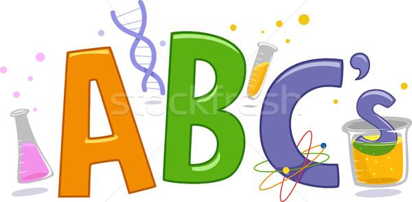 Bilim alfabe metin örnek laboratuvar araçları Stok fotoğraf © lenm