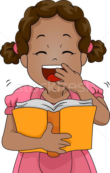 Stockfoto: Meisje · grappig · boek · illustratie · lachend · uit