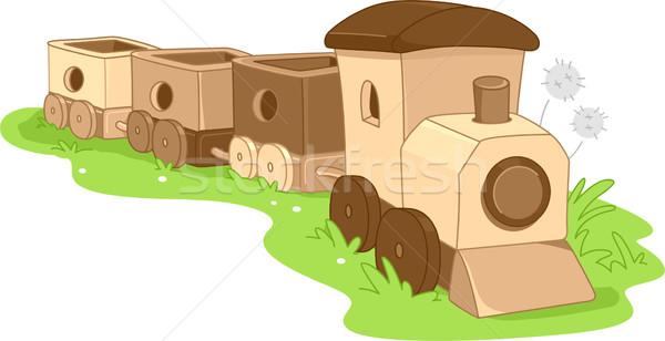 Brinquedo de madeira trem ilustração crianças projeto brinquedo Foto stock © lenm