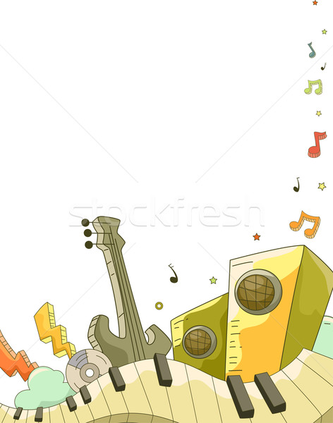 Music Elements Doodle Background Stock photo © lenm
