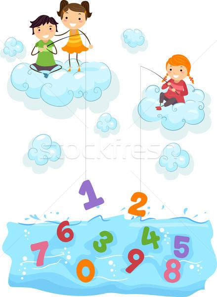 Gyerekek felhők halászat számok tenger illusztráció Stock fotó © lenm