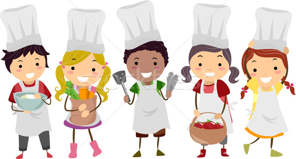 Illustration of Stickman Kids as Little Chefs Stock photo © lenm