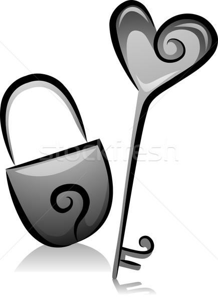 Kłódki kluczowych ilustracja czarno białe projektu czarno-białe Zdjęcia stock © lenm