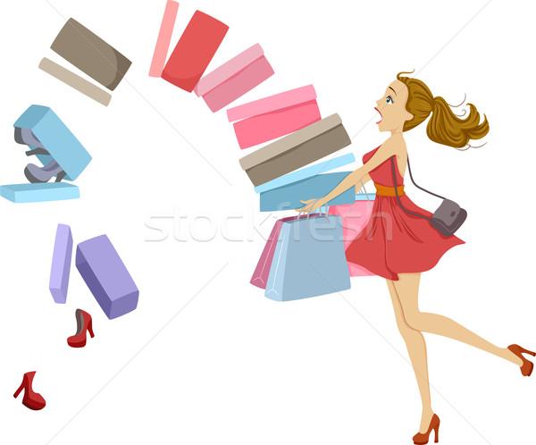 Caixas ilustração sapatos queda fora compras Foto stock © lenm