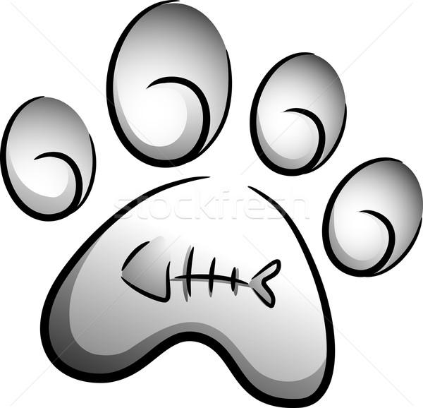 Macska mancs ikon illusztráció nyomtatott rajzolt Stock fotó © lenm