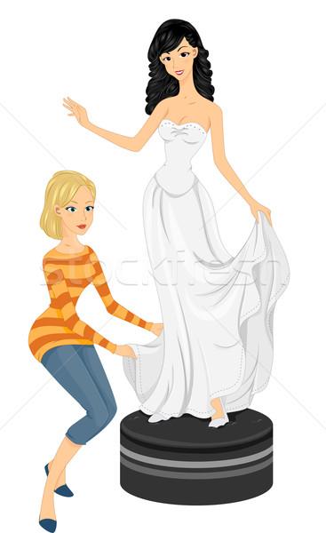 Suknia ślubna ilustracja oblubienicy kobieta ślub kobiet Zdjęcia stock © lenm