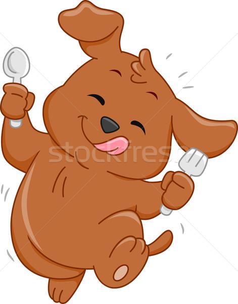 Hambriento perro mascota ilustración cuchara Foto stock © lenm