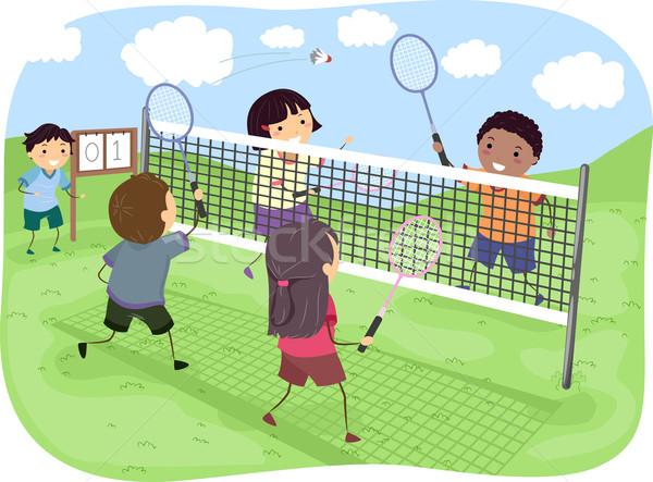 Badminton parku ilustracja grupy gry dla dzieci dzieci Zdjęcia stock © lenm