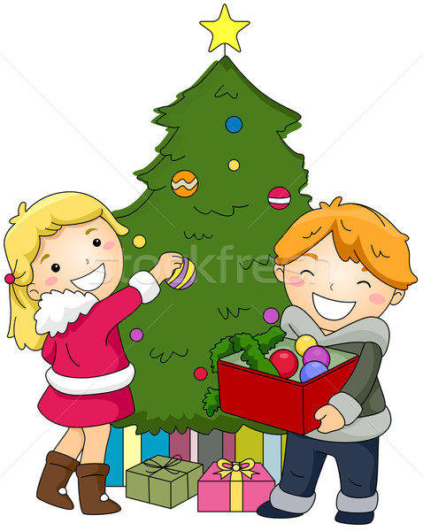 Kids Decorating a Christmas Tree Stock photo © lenm