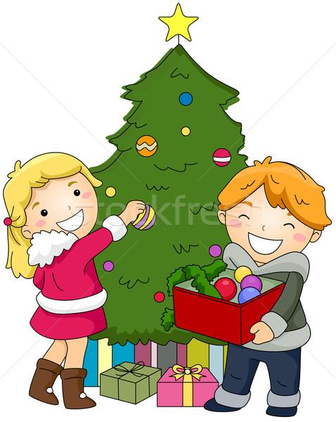 Gyerekek karácsonyfa illusztráció gyermek fiú gyerek Stock fotó © lenm