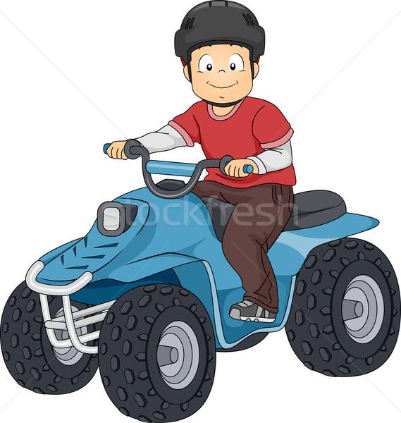 Teren pojazd ilustracja chłopca jazda konna Zdjęcia stock © lenm