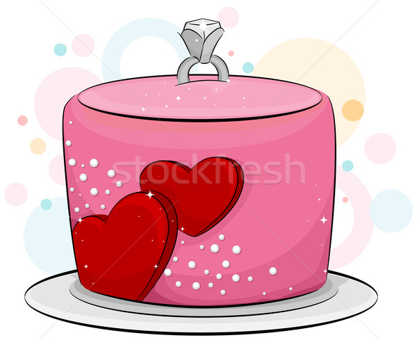 Engagement Kuchen Illustration Verlobungsring top Herz Stock foto © lenm