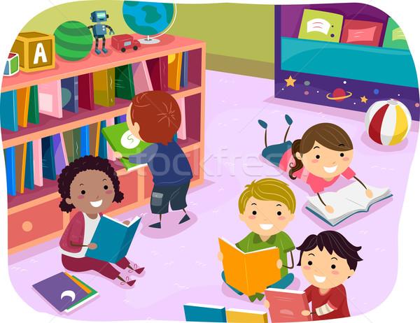 Stock fotó: Gyerekek · olvas · idő · óvoda · illusztráció · választás