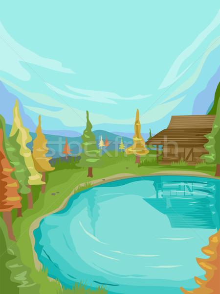 シーン キャビン 湖 実例 小 立って ストックフォト © lenm