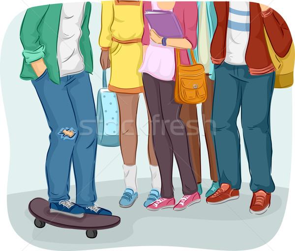 Stock fotó: Tinédzserek · főiskola · diákok · illusztráció · tini · gyűlés