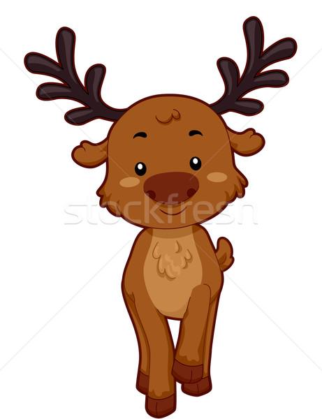 Rendier illustratie glimlachend dier cute Stockfoto © lenm