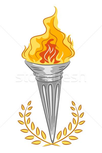 Tocha dourado folhas ilustração prata esportes Foto stock © lenm
