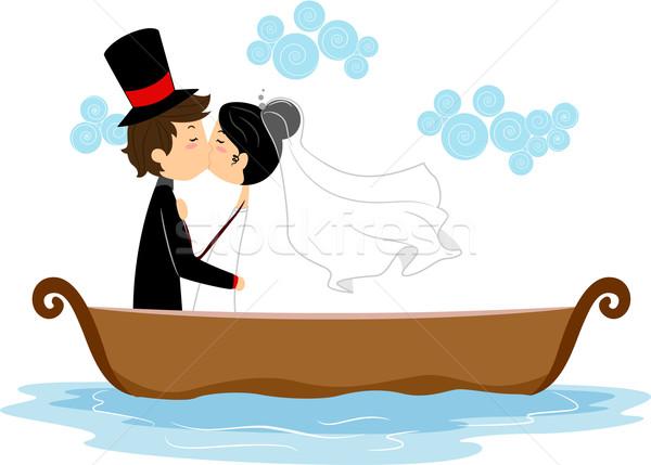 Ifjú pár csók csónak illusztráció lány esküvő Stock fotó © lenm