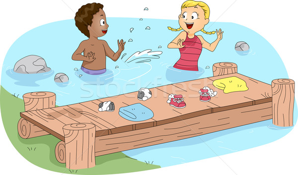 Kids Swimming Stock photo © lenm
