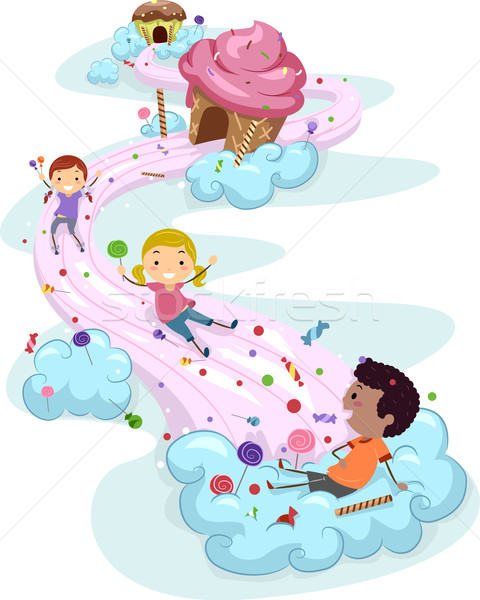 Bonbons terres enfants illustration enfants jouant ciel Photo stock © lenm
