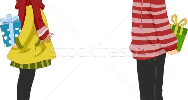Uitwisseling geschenken illustratie paar vrouw man Stockfoto © lenm