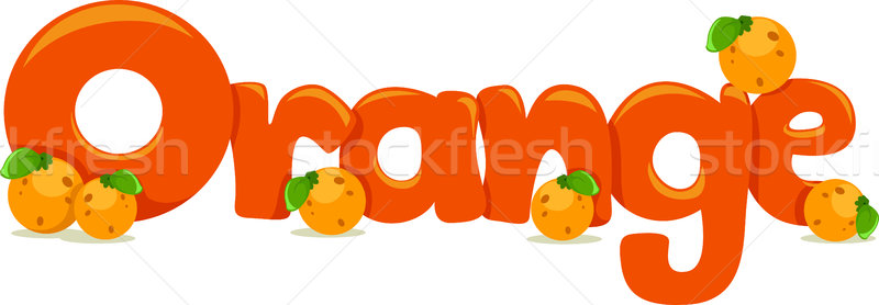 Photo stock: Orange · texte · illustration · mot · fruits · éducation
