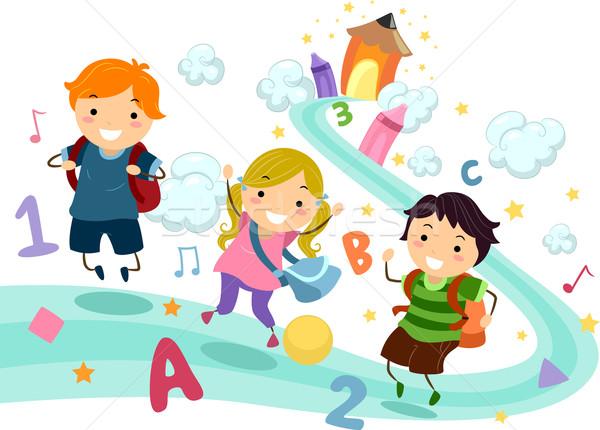 Photo stock: éducation · illustration · bâton · enfants · jouant · nombre · lettres