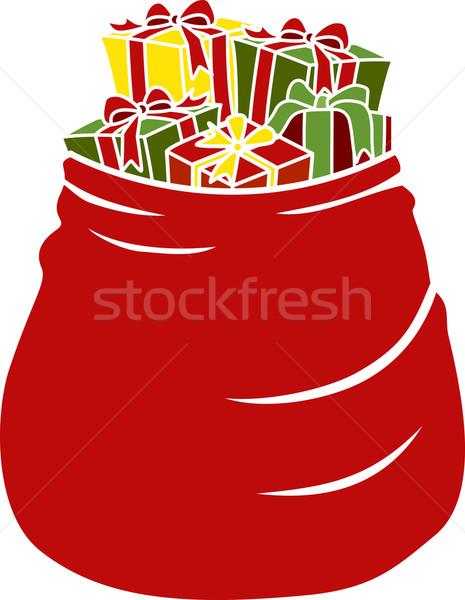 Stock fotó: Karácsony · táska · tele · ajándékok · illusztráció · terv