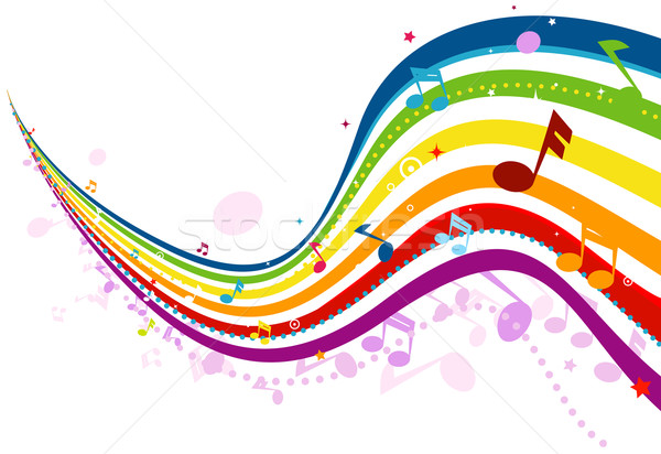 Musique vague design Rainbow Photo stock © lenm