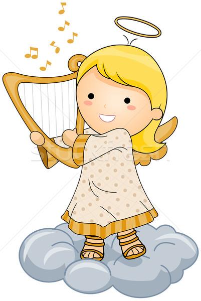 Anioł gry harfa świetle Chmura Zdjęcia stock © lenm
