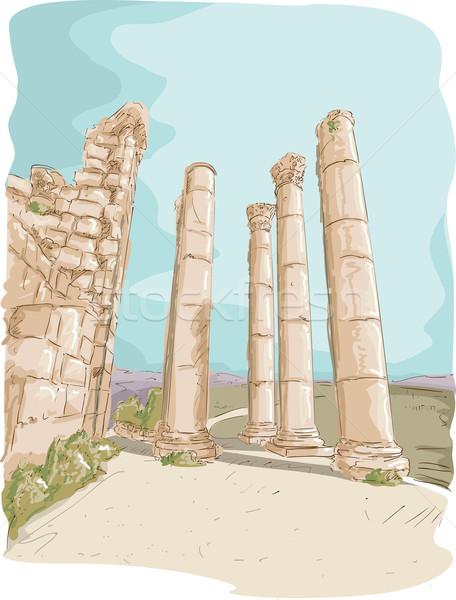 Romok illusztráció oszlop Jordánia utazás rajz Stock fotó © lenm