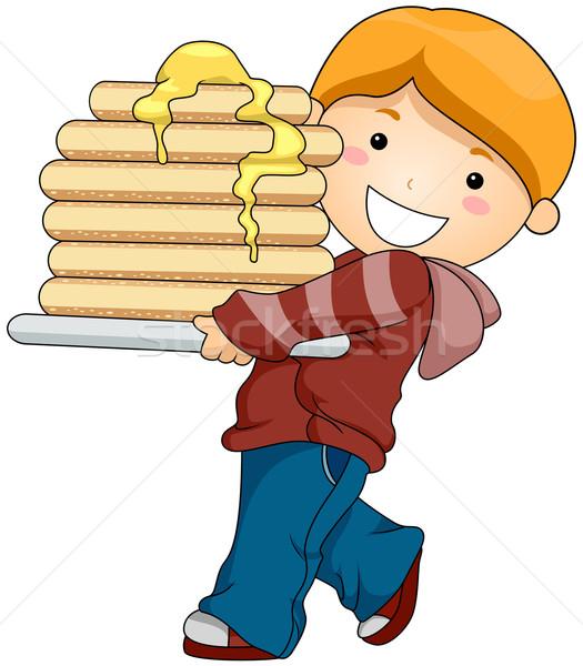 Jongen pannenkoeken voedsel kid zoete Stockfoto © lenm