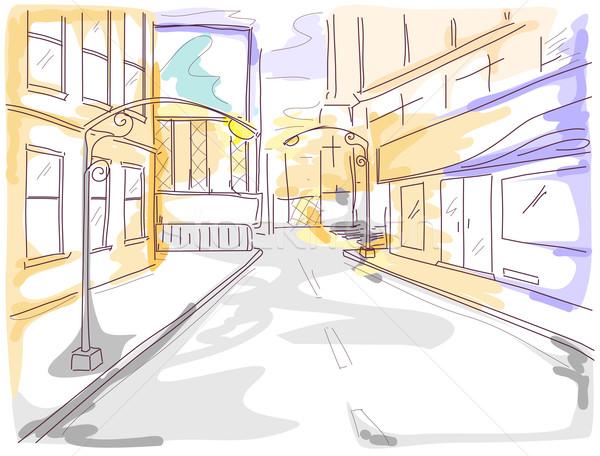 Urban scene ilustracja ulicy budynków nowoczesne szkic Zdjęcia stock © lenm