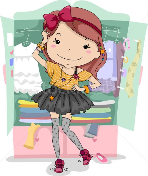 Elbise yukarı klozet örnek kız dışarı Stok fotoğraf © lenm