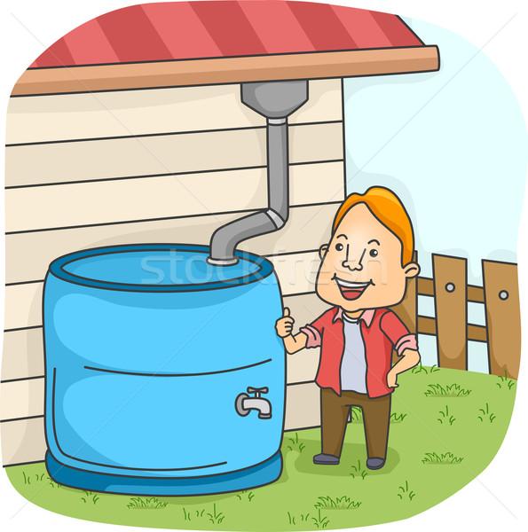 Collectie illustratie man verzamelen water mannelijke Stockfoto © lenm