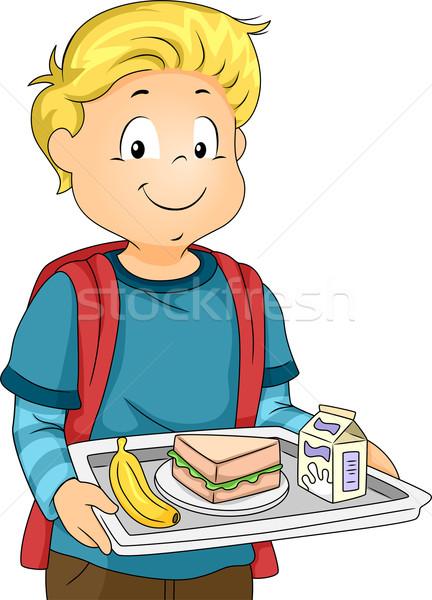Büfé ebéd illusztráció kicsi fiú hordoz Stock fotó © lenm