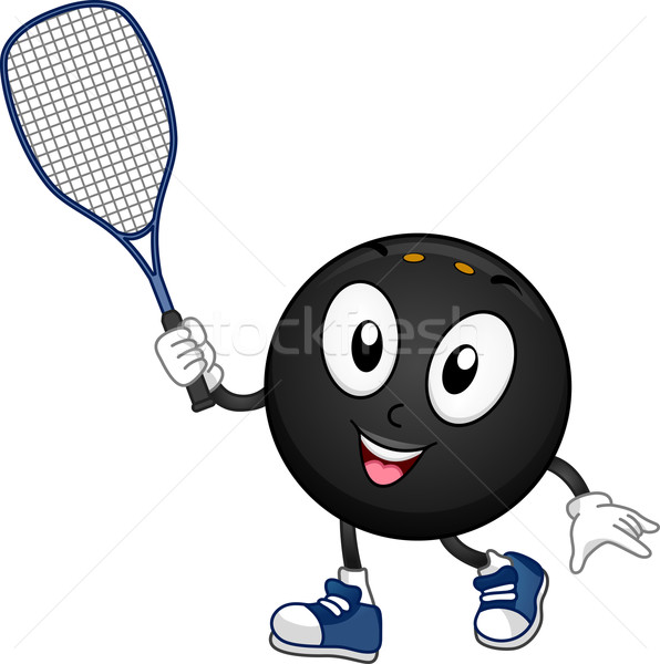 Squash mascotte illustration balle raquette Photo stock © lenm