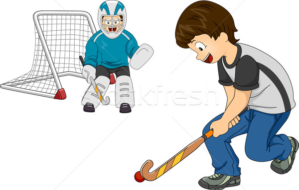 Indoor Field Hockey Boys Stock photo © lenm