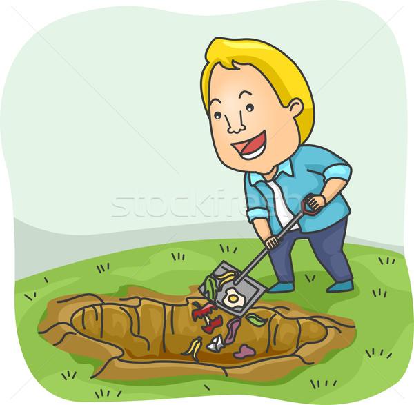 Ilustracja człowiek odpadów charakter mężczyzna ogrodnictwo Zdjęcia stock © lenm