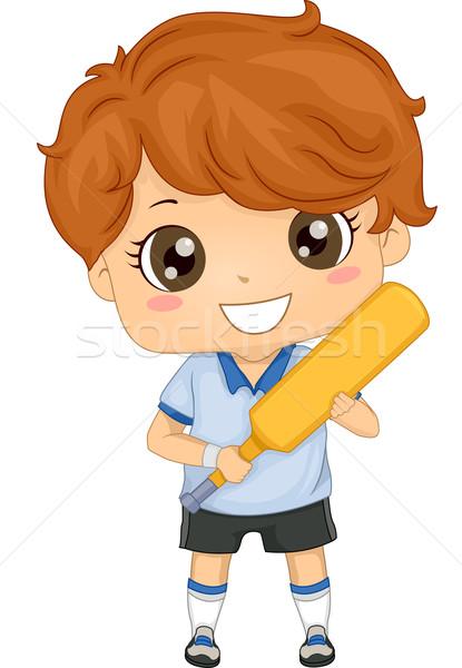 Foto stock: Críquete · menino · ilustração · engrenagem · esportes · jovem