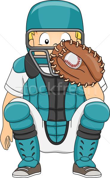 Baseball Catcher Position Stock photo © lenm