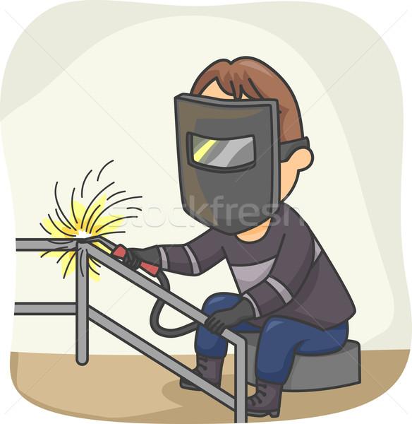 Lasser illustratie werk metaal veiligheid mannelijke Stockfoto © lenm