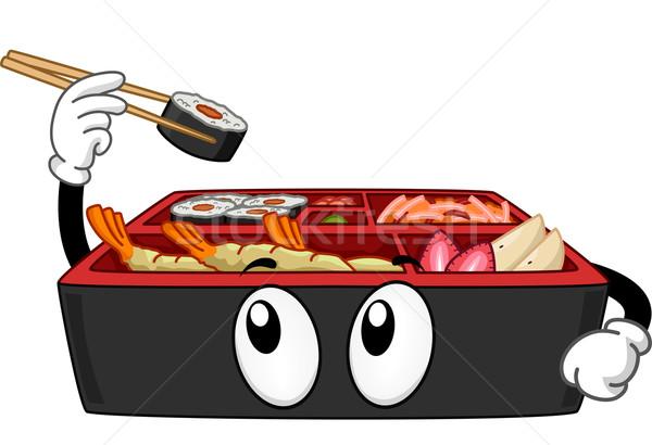 Mascotte illustrazione finestra maki alimentare Foto d'archivio © lenm