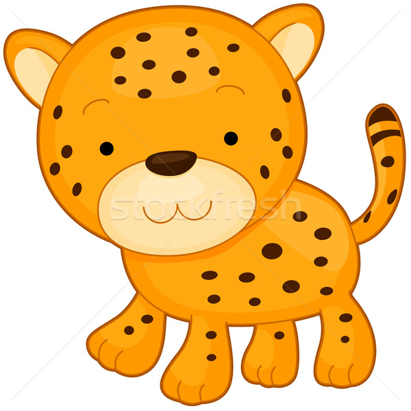 Cheetah illustratie glimlachend dier cute vector Stockfoto © lenm