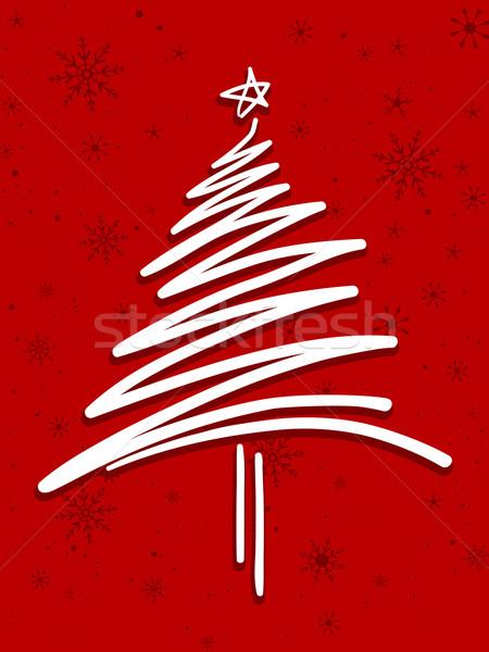 Noel ağacı dizayn gibi kar kırmızı Stok fotoğraf © lenm